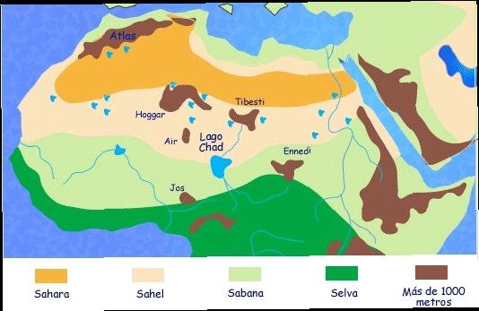 El Sahara antes de la desertización (fuente: Uriarte, historia de clima de la Tierra)