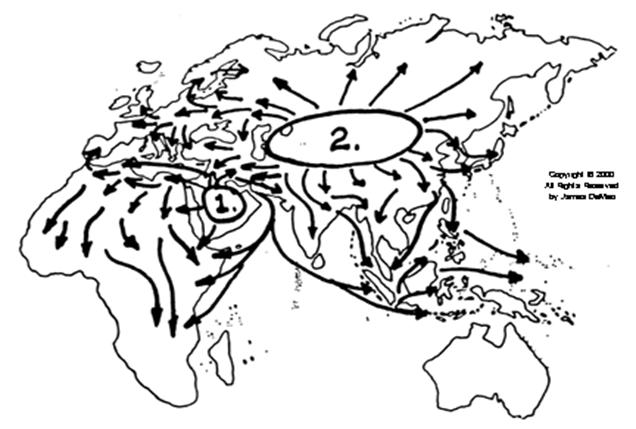 Núcleos de expansión de las sociedades de dominación 1: árabe. Núcleo 2: centroasiático. (Fuente: http://www.orgonelab.org/saharasia_sp.html)