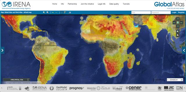 Irena - mapa de concentración energía solar