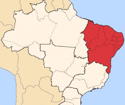 Mapa 1. Estado de Paraíba, nordeste de Brasil.
