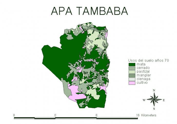 Mapa 2 (usos del suelo, año 1970, elaboración propia).