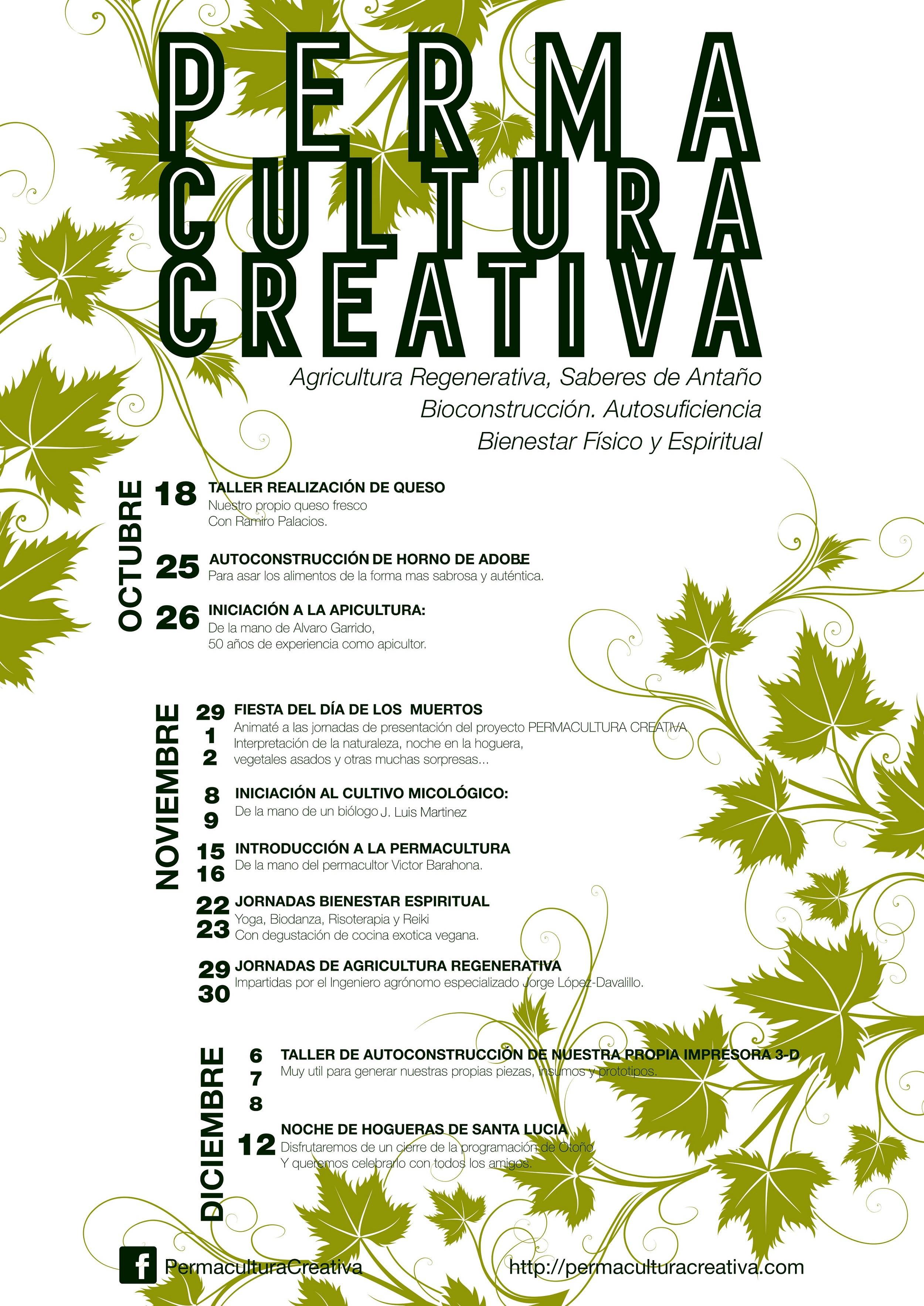 Cartel informativo con los eventos Otoño 2014 Permacultura Creativa